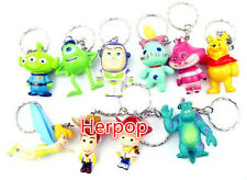 Lot 1set 10pcs Disney Characters Plastic Charms Pendants Key Chain Keychains