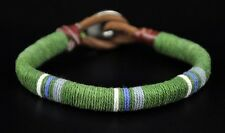 Cool Surfer Cotton Wrap Leather Men's Leather Wristband Bracelet Cuff Green Dk