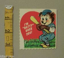 Vtg Valentine Card Chicago Cubs Spoof Baseball Teddy Bear Lollipop Holder UNUSED