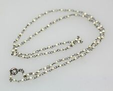 """GORGEOUS VINTAGE PLATINUM BABY SEED PEARL CHAIN NECKLACE ORIGINAL 16"""" LONG 90/10"""