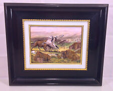 Vintage P Bonnet Painting on Copper Plate Buffalo Hunter Limited Ed France