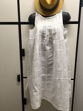 KAPITAL 0 WHITE COTTON TEXTURED CHECK JEWEL NECK DRESS NWT