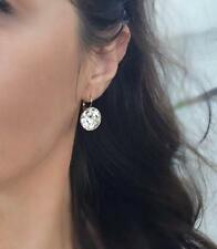 SMALL 10M Round Bella Earrings Clear Swarovski Crystal Silver Plated Bezel Lever