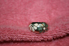 Vintage C&A 925 Silver Daisy Ring Greenish & Cream Flower Design 9