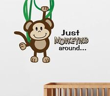 """Just MONKEYING around"" Monkey Wall Decal Art Sticker Nursery Decor Mural"