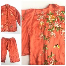 Vintage Chinese 1930's Silk Embroidered Floral Kimono Set Pants & Top One Size
