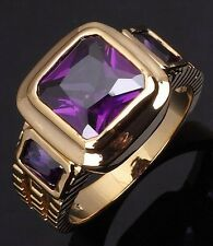 Size 8 Solitaire Amethyst 10K Gold Filled Emerald Cut Fashion Band Mens Rings