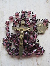 """Antique Vintage Amethyst Purple Glass or Stone Rosary 18.5"""" Long"""