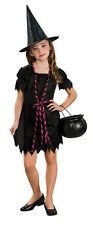Deluxe Childs Girls Gothic Black WITCH Costume Dress + Free Hat Small 4 5 6