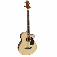 Electric Acoustic Bass Guitar Natural With Equalizer Solid Construction New