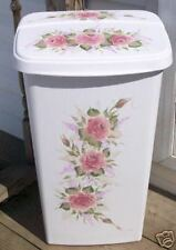 HAND PAINTED ROSES/TRASH CAN/LAUNDY HAMPER