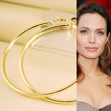 60mm Hollywood Celebrity Gold Plated Large ~HOOP~ Round Circle Earrings Xmas New