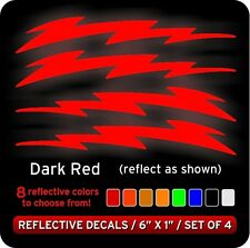 Lightning Bolts Reflective Decals Stickers / Red
