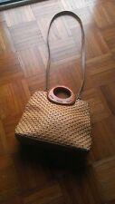 Vintage Fossil Medium Crossbody Shoulder Bag Woven Straw Handbag Purse Rare