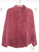 NEW SUTTON STUDIO BERRY BURGUNDY RED LEATHER SUEDE BUTTON DOWN SHIRT SIZE 6 M