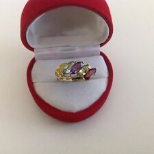 14K YELLOW GOLD MULTI STONE RING ,MARQUIS,TOPAZ, CITRINE,GARNET,PERIDOT,AMATHYST
