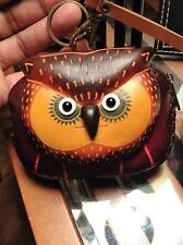 "Genuine Handcrafted Leather ""Owl"" Wristlet Keychain ID Cash Change Purse"