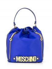 Moschino Couture Jeremy Scott Blue Bucket Bag with Gold Logo Leather & Fabric L