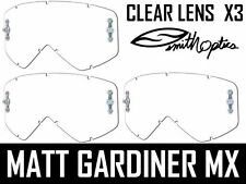 X3 GENUINE SMITH FUEL / INTAKE MOTOCROSS GOGGLE CLEAR LENSES V1 V2 anti fog lens