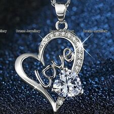 SALE XMAS GIFTS FOR HER Crystal Heart Necklace Women Girls Wife Daughter Mum K3