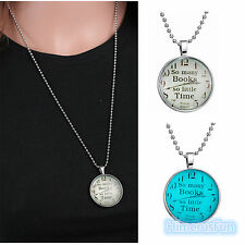 "Women Men Clock Letters ""So many books so little time"" Chain Necklace Gifts"