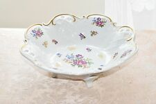 Vintage REICHENBACH Germany GDR Porcelain Fine China Footed Bowl Floral Gold Rim