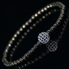Mens 18k Gold Plated Diamond Ball Beaded Bracelets Black Crystal on Silver
