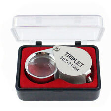 30x 21mm Foldable Triplet Jewelers Eye Loupe Magnifier Magnifying Glass Jewelry