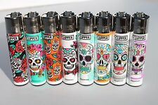 8 pcs New Refillable Clipper Full Size Lighters Mexican Skulls Collection