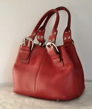Tignanello Red Pebbled Leather Satchel Handbag Purse