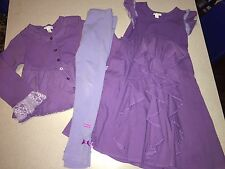 NAARTJIE PURPLE RUFFLE DRESS & LEGGINGS & CARDIGAN OUTFIT SET SIZE 7 6