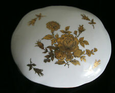 OLD PORCELAIN HAND PAINTED VANITY HINGED POWDER JAR  GOLD ROSES  ROSES -