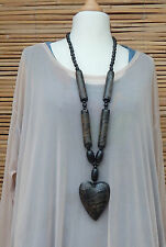 LAGENLOOK BEAUTIFUL QUIRKY BOHO ART LONG WOOD EFFECT HEART NECKLACE PENDANT