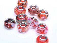 5pcs Murano Lampwork Glass Fit European Charms Bracelet Loose Big Hole Beads Lot