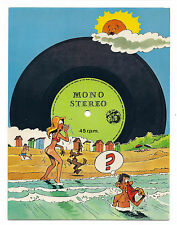 BELGIAN CARTOON Real Gramophone RECORD 45RPM Vintage Postcard NUDE WOMAN BEACH
