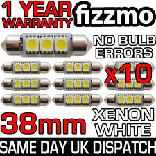 10x 38mm PLAQUE IMMATRICULATION HABITACLE 6000k BLANC BRILLANT 3 SMD LED C5W