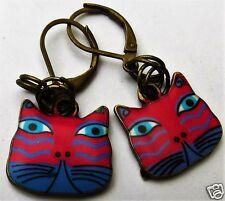 CAT FACE BLUE & PINK ENAMEL CHARM BRASS TONE  HANDMADE EARRINGS FOR PIERCED EARS