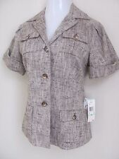 Anne Klein nubby brown off white short sleeved blazer nwt size 8 Retail $425