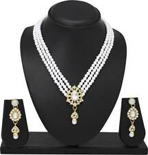 Indian Bollywood Fashion Ethnic Gold Plated Pearl Necklace Earrings Jewelry set