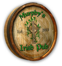 Irish Pub - Personalized Quarter Barrel Wood Sign, Home, Bar, Man Cave Christmas