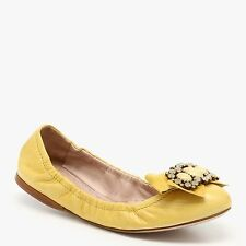$690 MIU MIU PRADA 8.5/38.5 Yellow Jeweled Bow Ballet Flats Shoes ITALY NIB