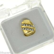 Grillz Single Cap Backslash Grill 14k Gold Plated Iced-Out K9 Slug Bling Tooth