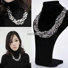 Fashion Jewelry Pendant Chain Crystal Chunky Choker Statement Charm Bib Necklace