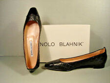 MANOLO BLAHNIK GIUNGLACAP BLACK QUILTED LEATHER BALLET FLATS SHOES 376.5 NEW