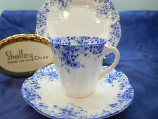 "DAINTY BLUE DAISY   ""DEMI""  CUP,  SAUCER  AND 6 1/2"" PLATE  * BLUE TRIM * WOW!"