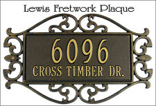 Whitehall Lewis Fretwork Address Sign Personalized Plaque - 2 Mounts & 3 Colors!