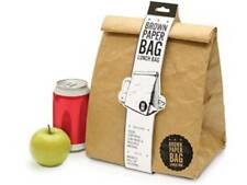 NEW BROWN PAPER REUSABLE INSULATED BACK TO SCHOOL LUNCH BAG KEEP FOOD HOT & COLD