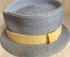 MAKINS NY BABY BLUE YELLOW Trilby MILAN STRAW S 55CM 6 7/8
