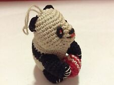 Crochet Panda Bear Ornament Holding Red Ball