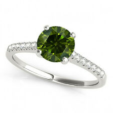 0.46 Ct Fancy Green Diamond SI2 Solitaire Wedding Ring Stunning 14k White Gold